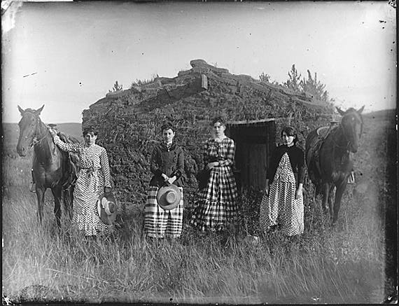 The Chrisman sisters, 1886. Lizzie Chrisman filed the first of the sisters' homestead claims in 1887. Lutie Chrisman filed the following year. The other two sisters, Jennie Ruth and Hattie, had to wait until they came of age to file. They both filed in 1892. Photo from Solomon D. Butcher - Photographs of the Nebraska Homestead Experience, Nebraska State Historical Society.