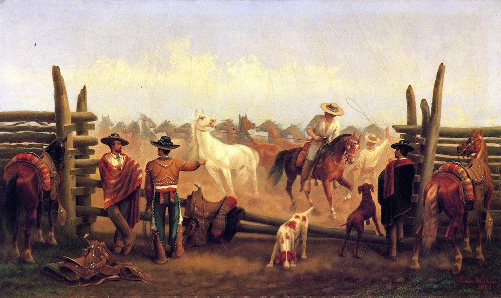 James Walker, Vaqueros in a Horse Corral, oil painting