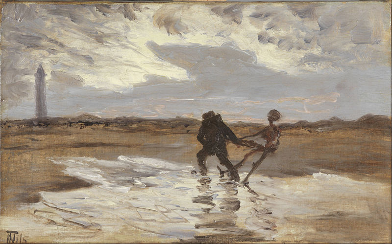 Thorvald Niss (1842-1905), The drowned man's ghost tries to claim a new victim for the sea, 1932.