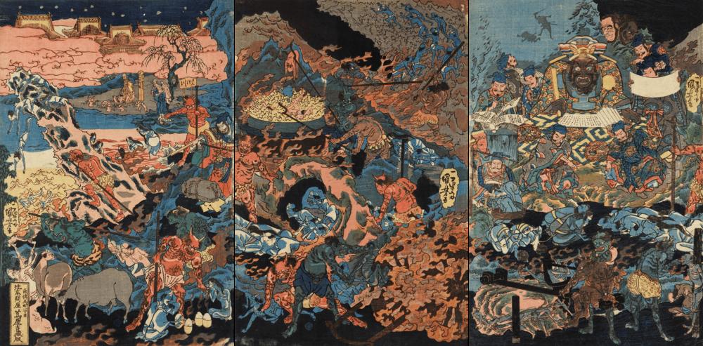 Utagawa Kuniyoshi,  Ghosts, Devils and the King of Hell , 1850 (Edo period)