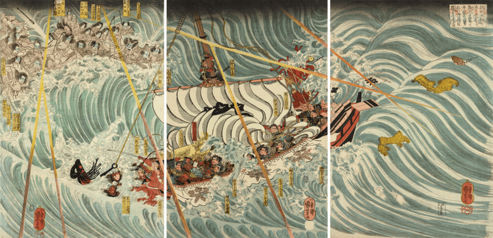 Utagawa Kuniyoshi,  The Taira ghosts arising from the sea,  1845 (Edo period)