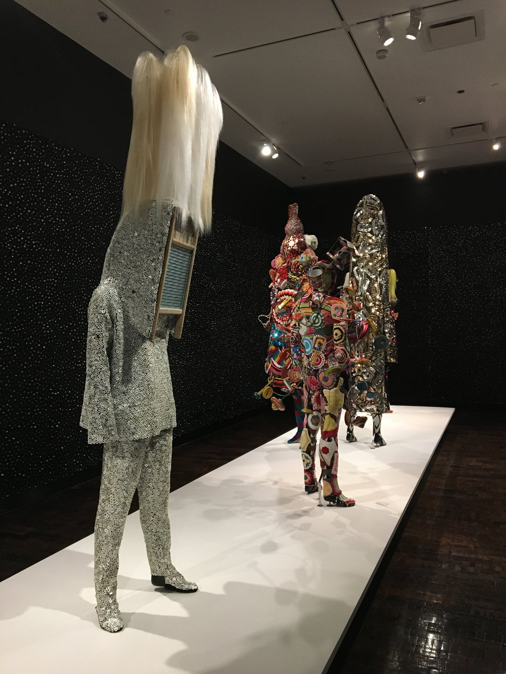 Nick Cave,  Soundsuit , mixed media, all soundsuits on display created between 2010-2017.