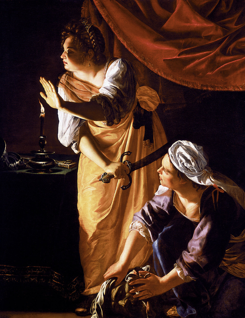 Artemisia Gentileschi,  Judith   and   Maidservant with Head of Holofernes , c. 1620, oil on canvas, 184 cm (72 in) × 141.6 cm (55.7 in)