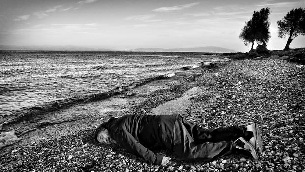 Ai Weiwei created this photograph after seeing an image of a drowned 3 year old Syrian boy on the shores of Turkey.