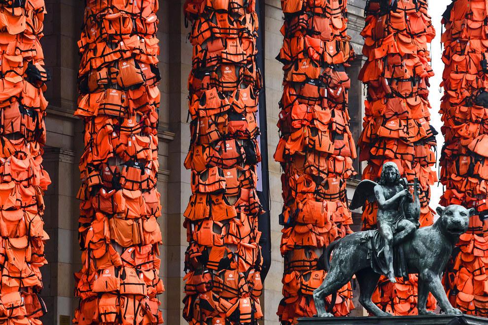 Ai Weiwei, Refugee Life Jackets, 2016