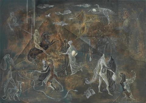 Leonora Carrington - The Garden of Paracelsus - 1957 - oil on canvas
