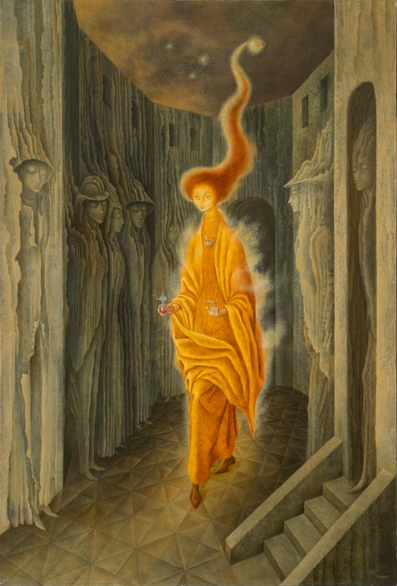 Remedios Varo -  La   llamada   (The Call)  - 1961 - Oil on masonite