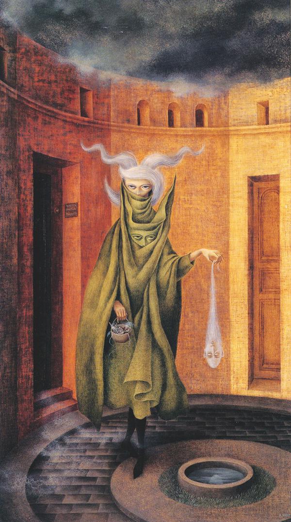 Remedios Varo -  Woman Leaving the Psychoanalyst  - 1960 - oil on canvas