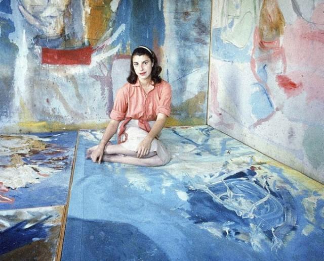 Photograph of Helen Frankenthaler in her studio