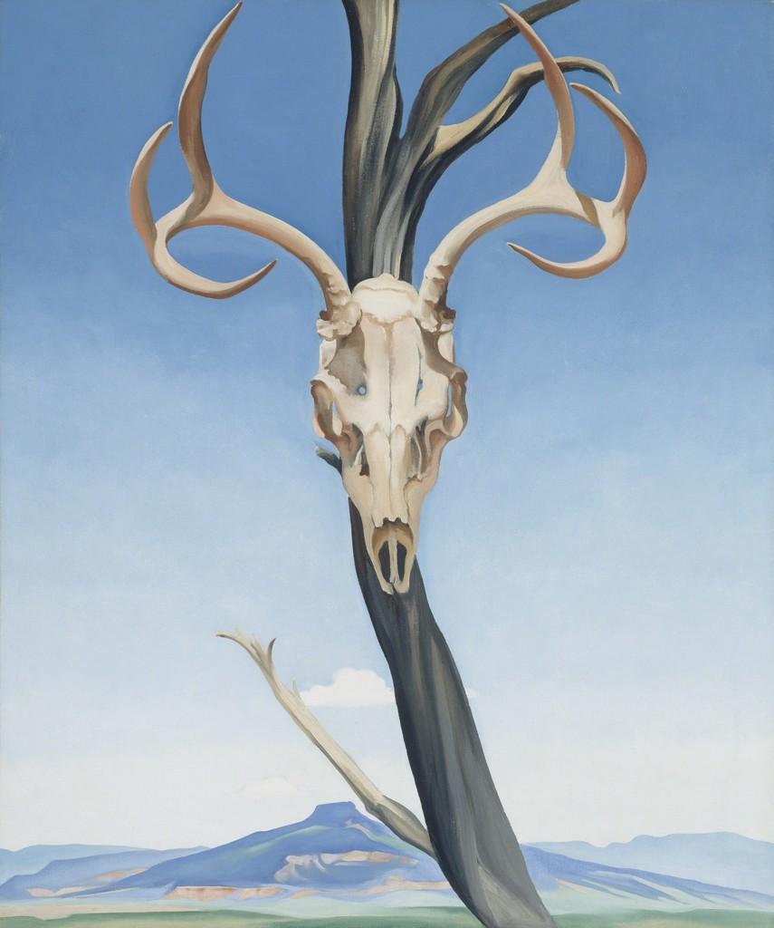 Georgia O'Keeffe -  Deer's Skull with Pedernal  - 1936 - oil on canvas
