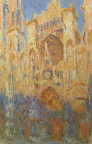Claude Monet,  Rouen Cathedral, Facade (sunset), harmonie in gold and blue , 1892-94, oil on canvas