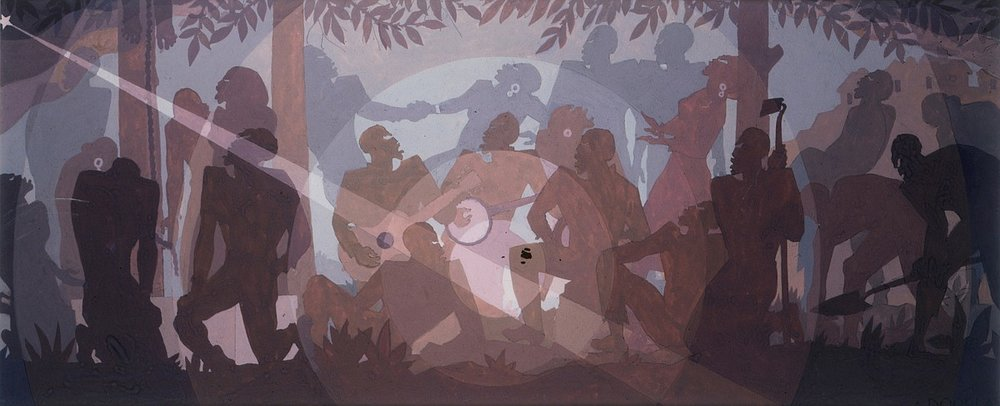 "Aaron Douglas, Study for ""Aspects of Negro Life: An Idyll of the Deep South"" (1934), tempera on paper"