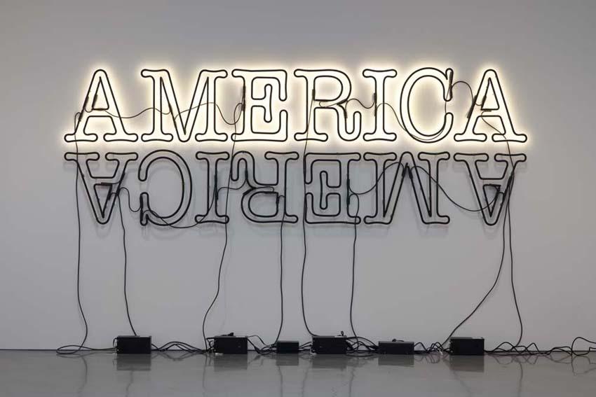 Glenn Ligon,  Double America , 2014, neon