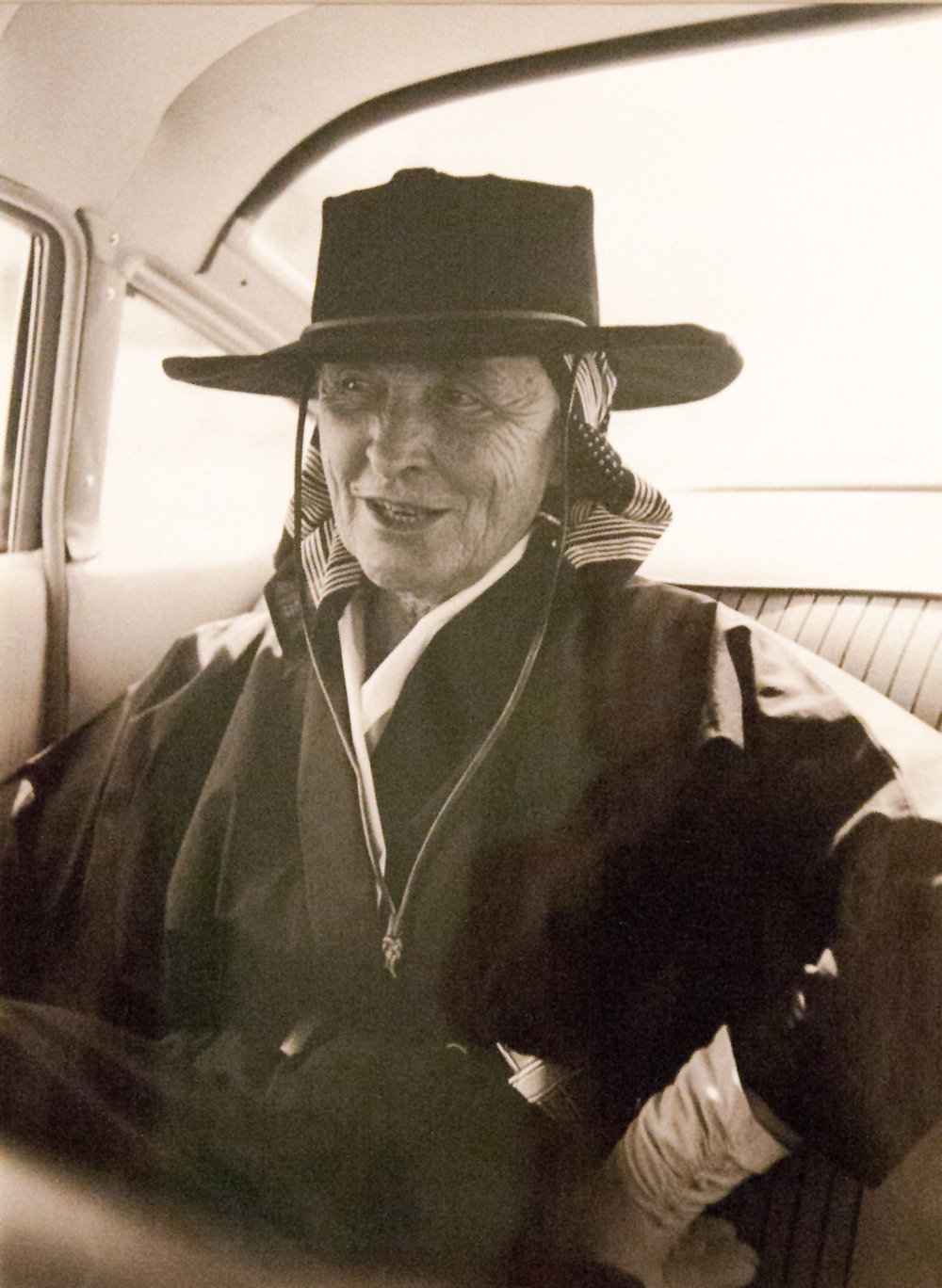 New Mexico phase -Tony Vaccaro,  Georgia in the Car with Hat - 1 , 1960, gelatin silver print