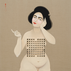 Hayv Kahraman, Shield 2, 2016, oil on linen and acoustic foam