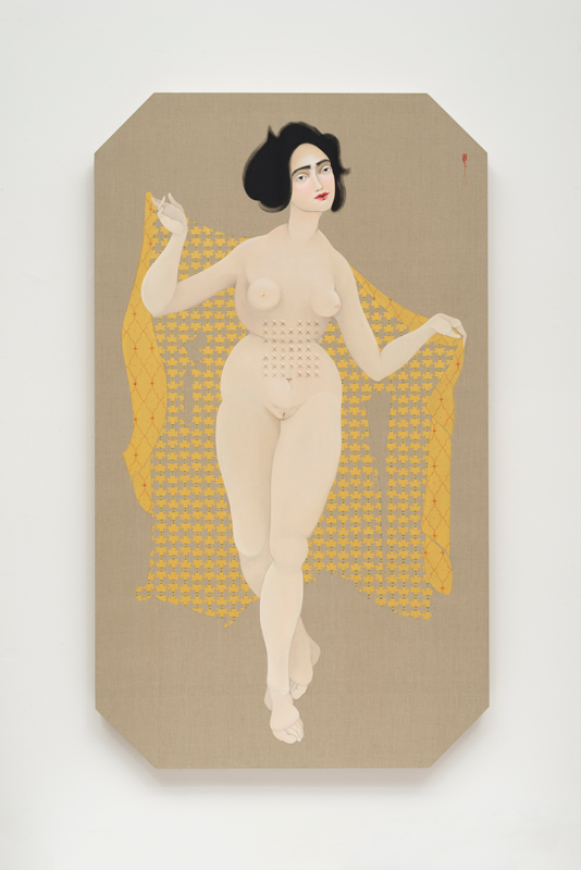 Hayv Kahraman,  Concealed Weapon , 2016, oil on linen and acoustic foam