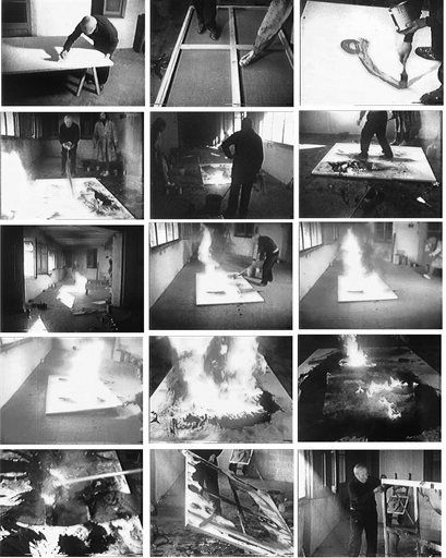 Stills from Francesc Català-Roca's film  Miró73. Toiles Brûlées  showing Miró creating his Burnt Canvases 1973