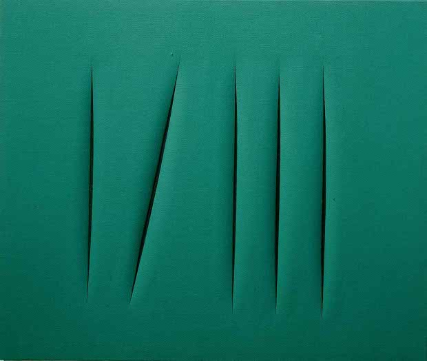 Lucio Fontana,  Spatial Concept , 1968. From his  tagli  series.