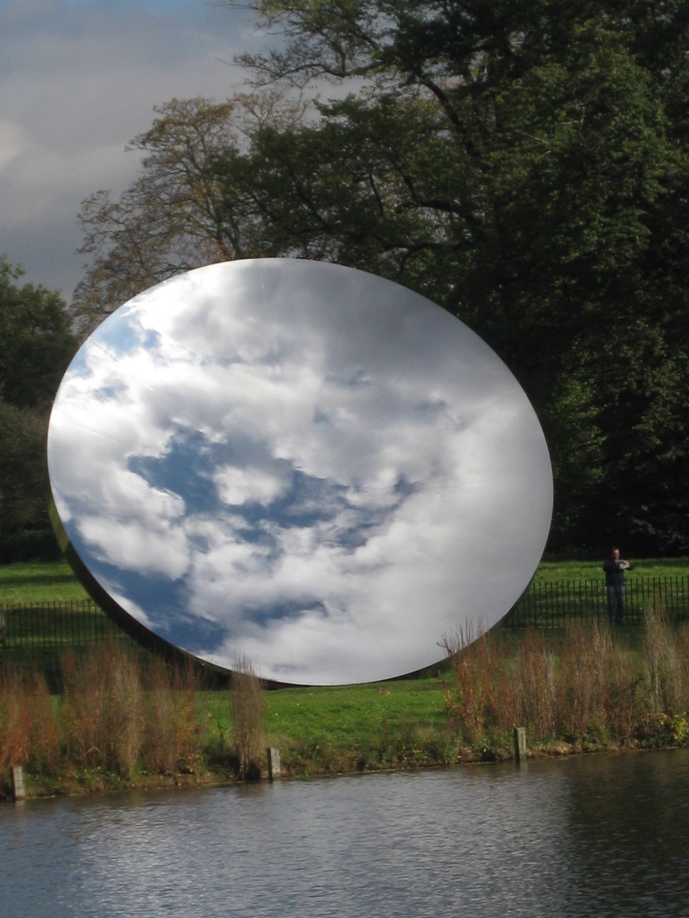 Anish Kapoor,  Sky Mirror ,   Commissioned by the Nottingham Playhouse from the artist, it is installed outside the theater in Wellington Circus, Nottingham, England. It was installed in Rockefeller Plaza in New York City BEFORE this in 2006.