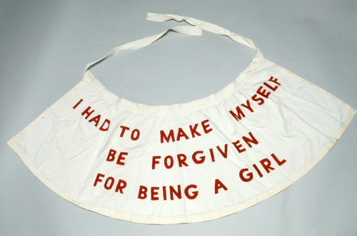 Louise Bourgeois, Garment from the performance,  She Lost It , 1992, apron with stitching.