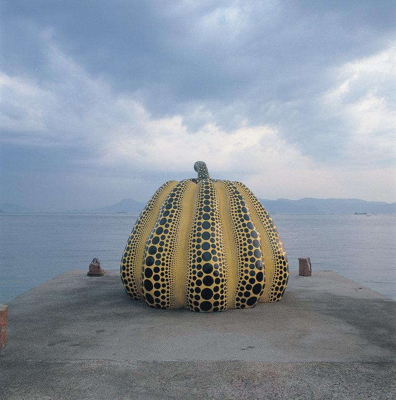 Yayoi Kusama,  Pumpkin , on the pier at Naoshima.