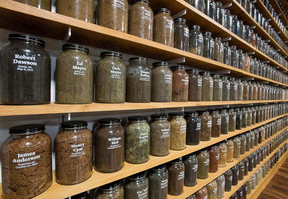 Jars containing soil from the sites of confirmed lynchings in the state of Alabama at the The National Memorial for Peace and Justice in Montgomery, AL.