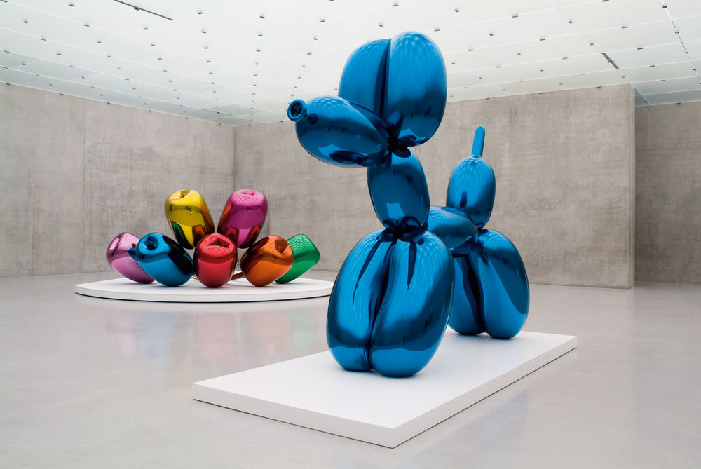 Jeff Koons,  Balloon Dog (Blue) , executed in 1994-2000, mirror-polished stainless steel with transparent color coating, 307 x 363 x 114cm, one of five unique versions (Blue, Magenta, Orange, Red, Yellow)