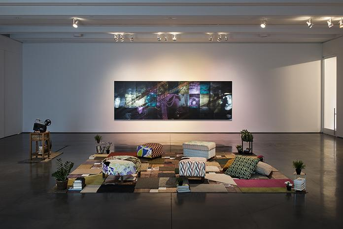 Mickalene Thomas,  Mentors, Muses, and Celebrities,  Installation view, Aspen Art Museum (Please sit, this is for interacting and viewing pleasure)