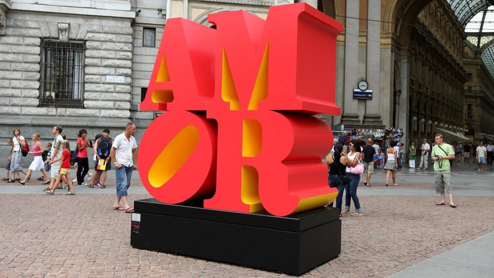 Robert Indiana installation of  AMOR  on exhibit in Piazza della Scala in Milan