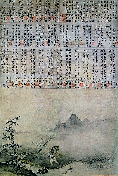 Josetsu (Japanese painter),  Catching a Catfish with a Gourd,    Muromachi Period (15th Century). At the top of the painting are 31 poems, each written by a different person.