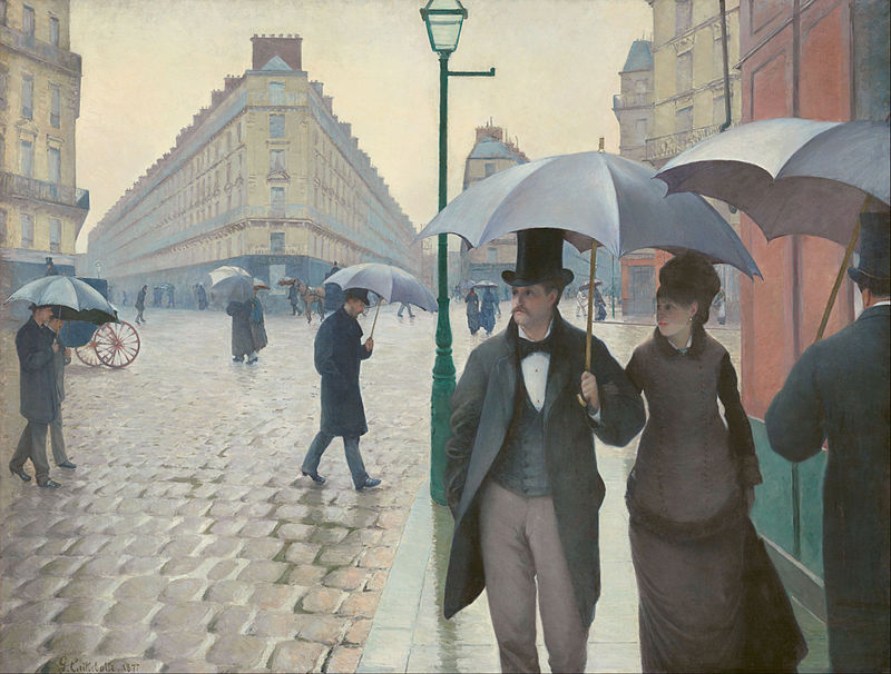 Gustave Caillebotte,  Paris Street, Rainy Day , 1877. An image of 19th c. France. The flaneur and supervised women.