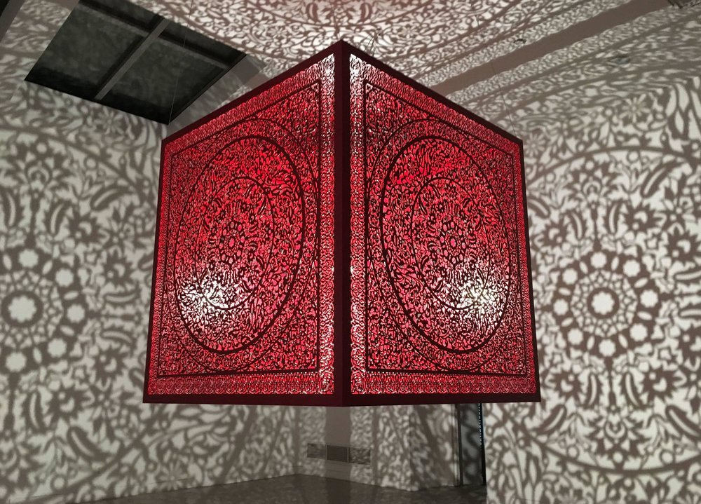 "Anila Quayyum Agha, All The Flowers Are For Me - Red , Lacquered Steel and Halogen Bulb, 60"" x 60"" x 60"", 2016"