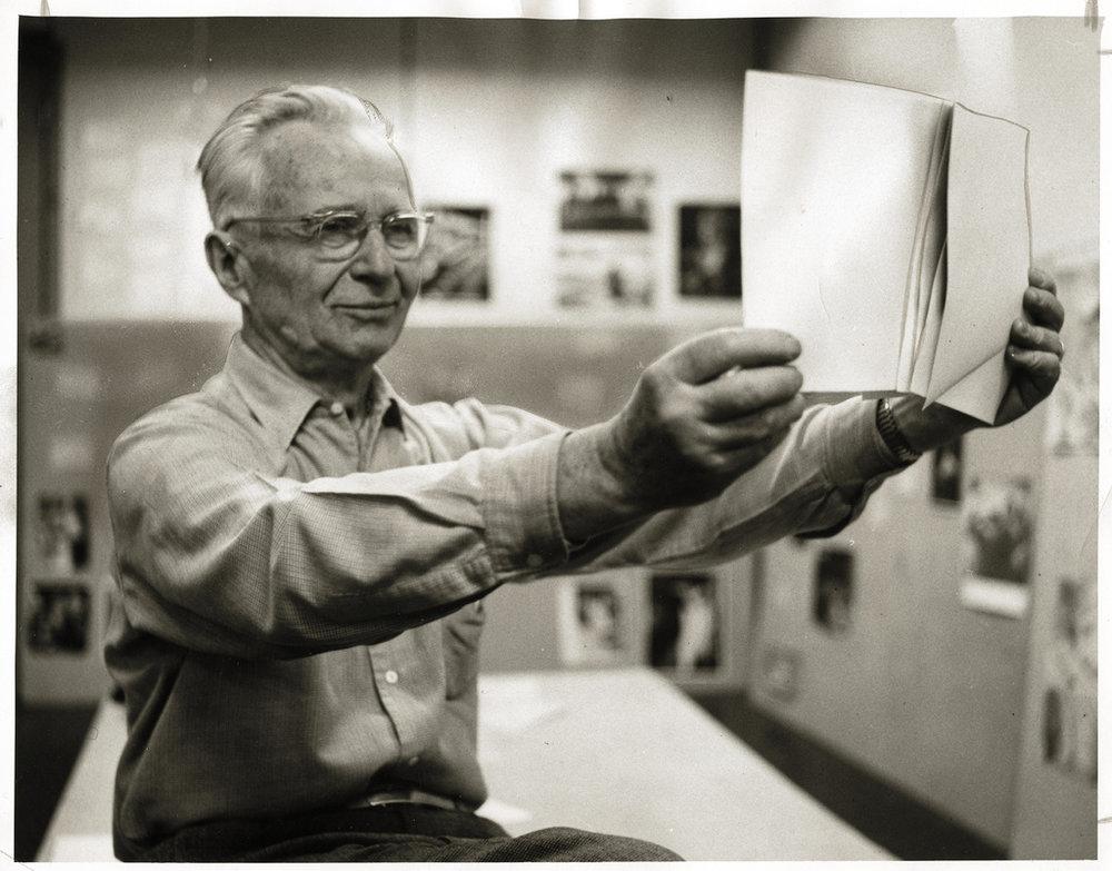 Edward Steichen Preparing for the exhibit at MoMA, 1955
