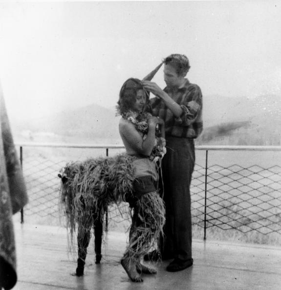 Ingeborg Svarc Lauterstein (left) and Robert Rauschenberg (right), students at Black Mountain College c.1948-1949. Ingeborg Svarc Lauterstein is dressed as a centaur or unicorn for a party.