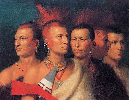 Charles Bird King,   Young Omahaw, War Eagle, Little Missouri, and Pawnees , 1822