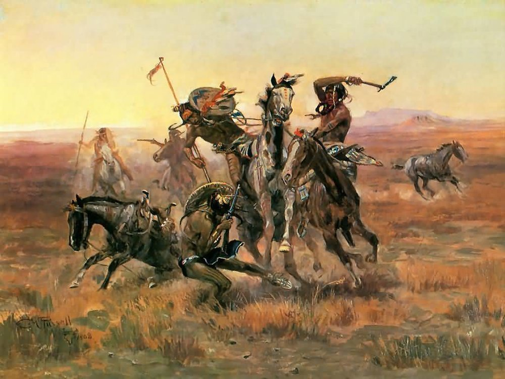 Charles M Russell,  When Blackfeet and Sioux Meet