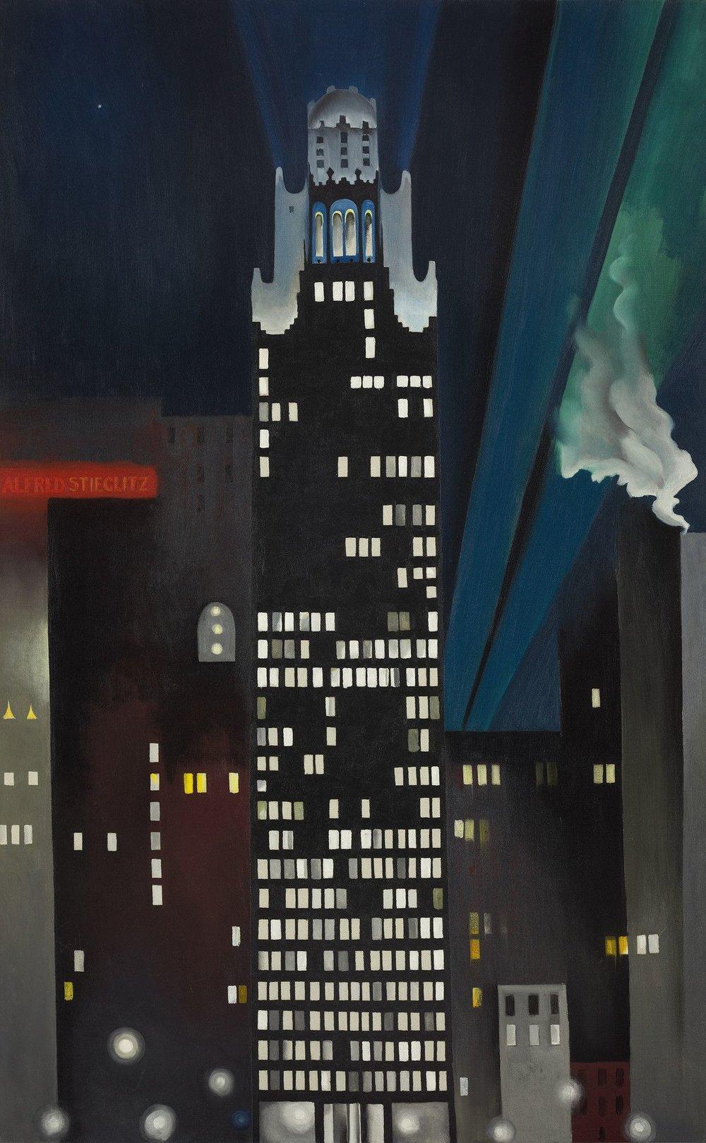 Radiator Building–Night, New York  by Georgia O'Keeffe, 1927