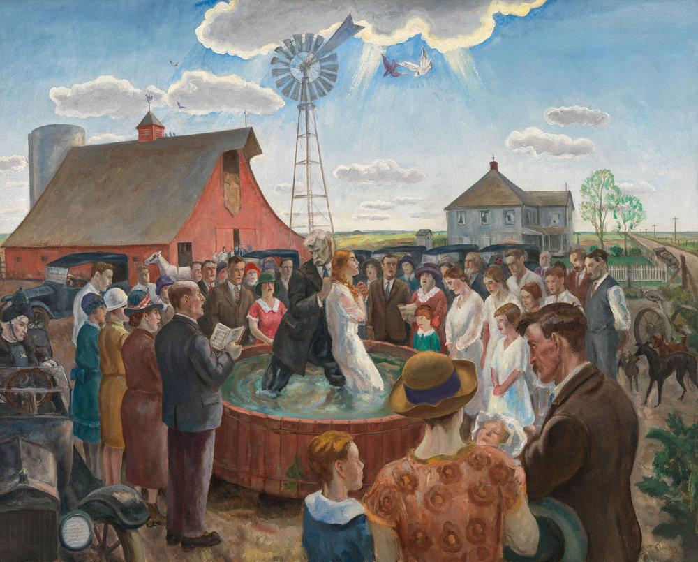 John Steuart Curry.  Baptism in Kansas , 1928