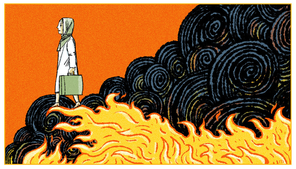 This was for Science Magazine, a weekly column I do on first person career stories. This was about a woman scientist fleeing Syria after a brave and prolonged effort to stay. Lot's of fun with Kyle's runny inkers...