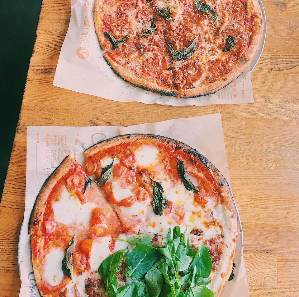 Not Chicago specific, but Blaze Pizza is my favorite for thin crust pizza. I got a pizza with half Red Vine and half White Top, and I highly suggest both!