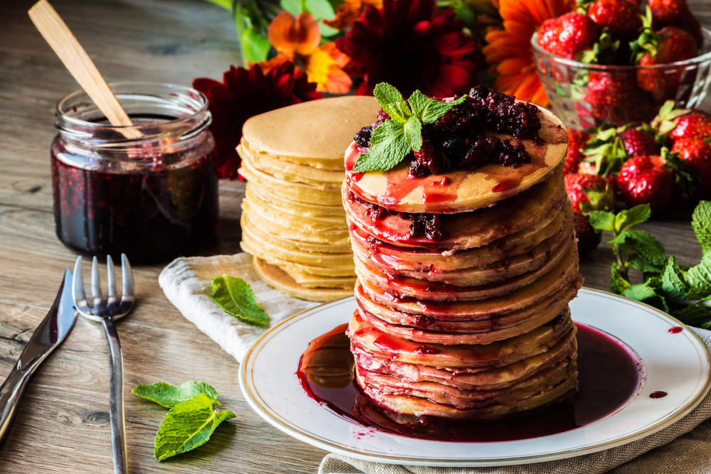 Gluten & Dairy Free Pancakes with an Herbal Fruit Preserve -