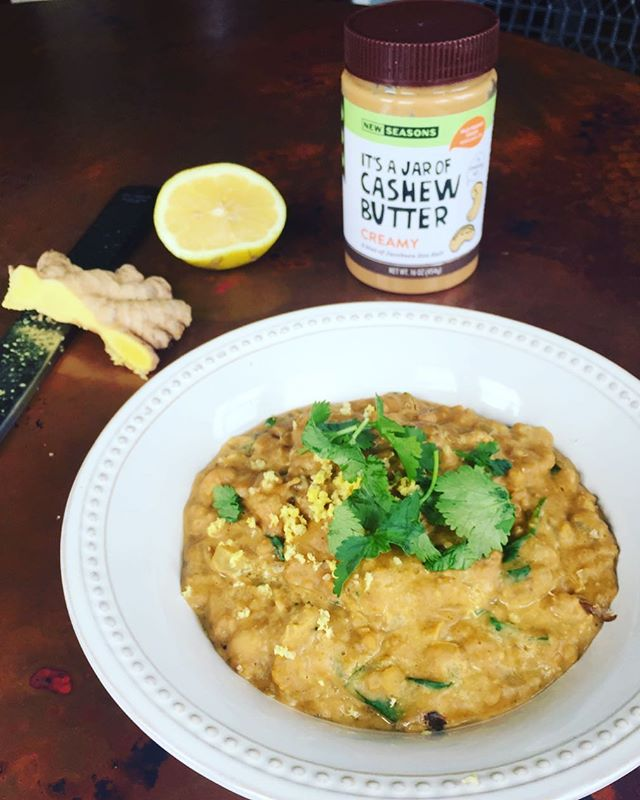 Nut/seed butters are not just for spreading on toast or making into fat falls, but are delicious added to soups— for extra creaminess and all around goodness 😋I have been addicted to this coconut chickpea curry cashew butter soup. It's tasty and warms me up on these cold winter days ✨❄️ ••••••••••••••••••••••••••••••• Serves 4-5 (I froze some for leftovers) •2 tbs coconut oil • 1 medium yellow onion •1/3 cup diced carrots • 14 oz fresh tomatoes, diced (if using canned, drain tomatoes) • sea salt + ground black pepper to taste • 16 oz chickpeas, drained • 3 garlic cloves, minced • 1 tbsp fresh grated ginger •1-1.5 tbs Garam Masala • 1 tsp curry powder • 1/4 tsp cumin •1 tsp harissa pasta (optional) • 13.5 oz (1/2-1 can) full fat coconut milk OR 1-2 So Delicious coconut milks (what I used, but either works 😊) • 1 cup veggie stock (add more or extra water if wanting to make this dish more of a soup) •2 tsp coconut flour •cashew butter to taste (*add at the end, stirring in to desired taste) •For serving: red pepper flakes, lime juice (necessary to bring out the delicious flavors), cilantro, grated ginger *Optional: sometimes I make this and add red bell pepper, red lentils, or spinach to wilt in at the end for extra greens  Blend half of the soup and add back to the pot before serving. This dish is great all on its own, but could be served as a curry over a coconut quinoa: • 1 14 oz can light coconut milk • 1 cup white quinoa, rinsed in a fine mesh strainer