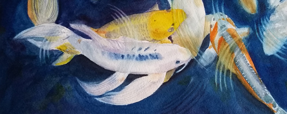 """Koi Pond"" - watercolor painting"
