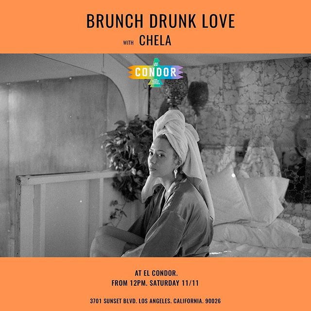 #losangeles #silverlake #echopark #losfeliz #compton come up or down to #brunchdrunklove today with me - your host and good pal, Chel. 12-3, on the patio. 🖤 Image by @ginanero Poster by @artlessartists
