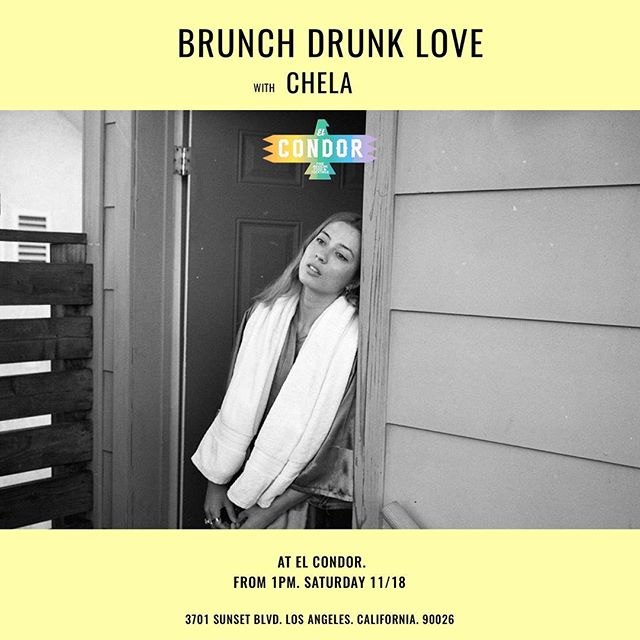 Tomorrow Los Angie, you got it. Brunch with me, your pal Chel. From 1pm at @elcondorla. Yes to requests! XO Photo: @ginanero  Poster: @artlessartists