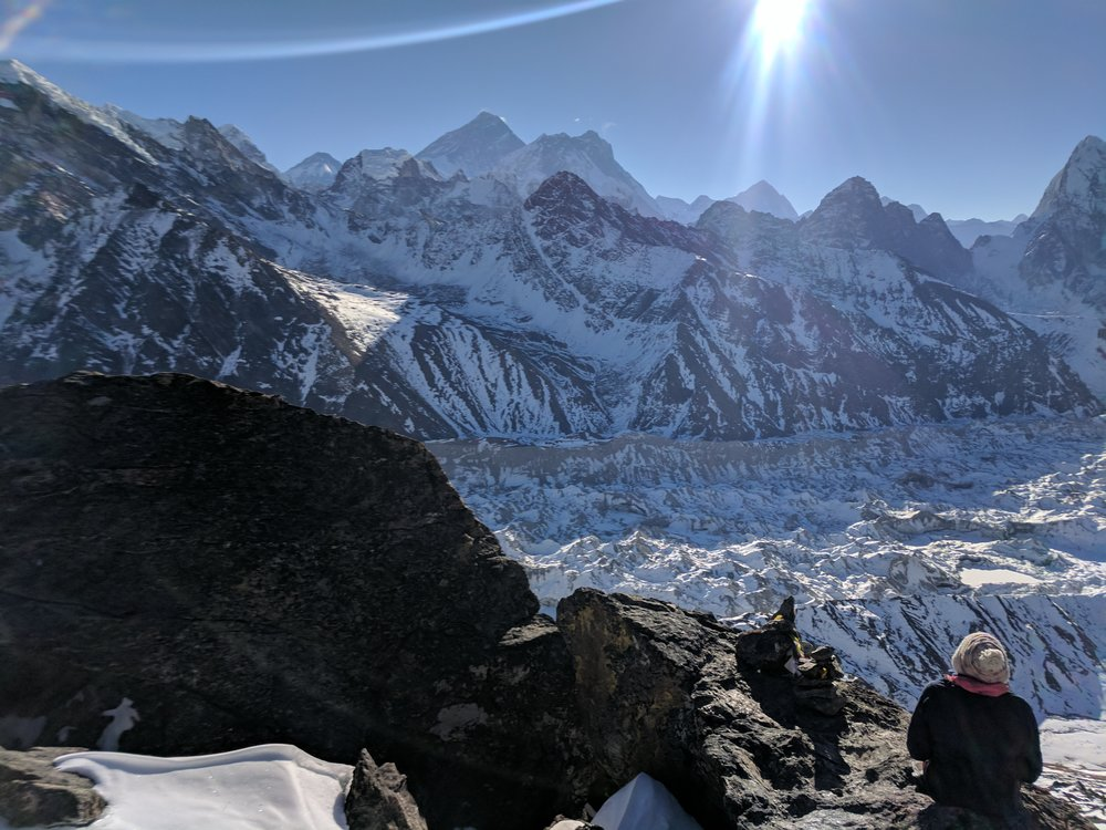 We watched the sun rise over Mt Everest about 300 vertical feet from the top. The snow had covered the trail, so we took a yak path up the mountain. The grueling climb rewarded us with spectacular views.