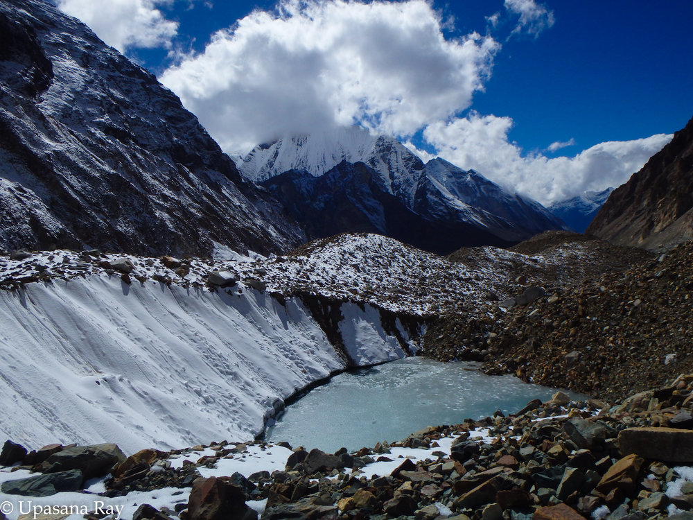 Icy water filled crevasse of Shweta glacier