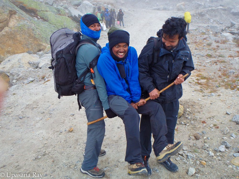 The moment: Saurav, Tarun and Jhankar displaying an overflow of excitement upon reaching civilization