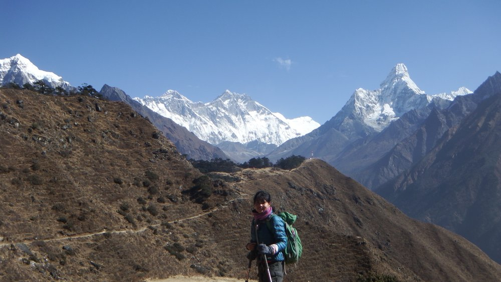 Day hiking towards Everest Base Camp in Nepal.
