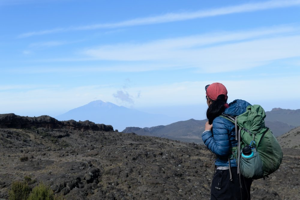 Looking back at Mt Meru on the Northern Circuit trail torwards Kilimanjaro.